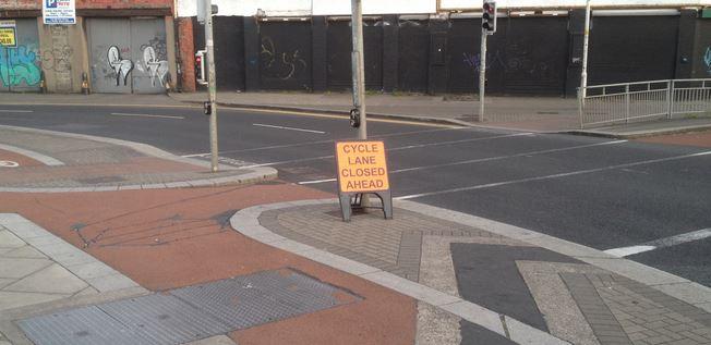 Cycle lane closed