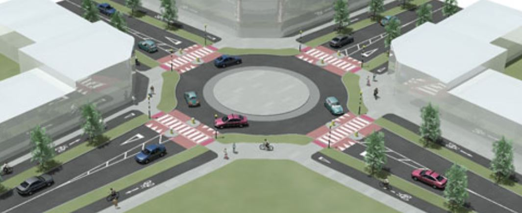 Zebra crossings on roundabouts
