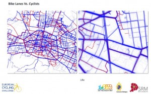 IMAGE: A sample heatmap comparing routes people cycle and cycle lanes.