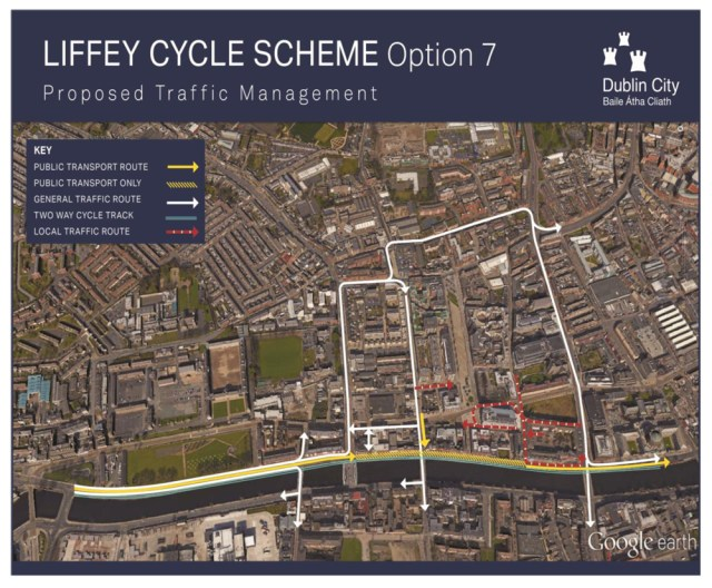 IMAGE: Outline map showing contentious bus, taxi and cycle routes on the quays, with private motorists diverted.