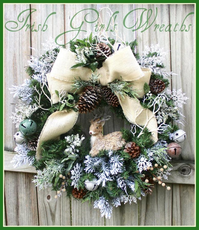 Ivory Rustic Winter Deer Wreath