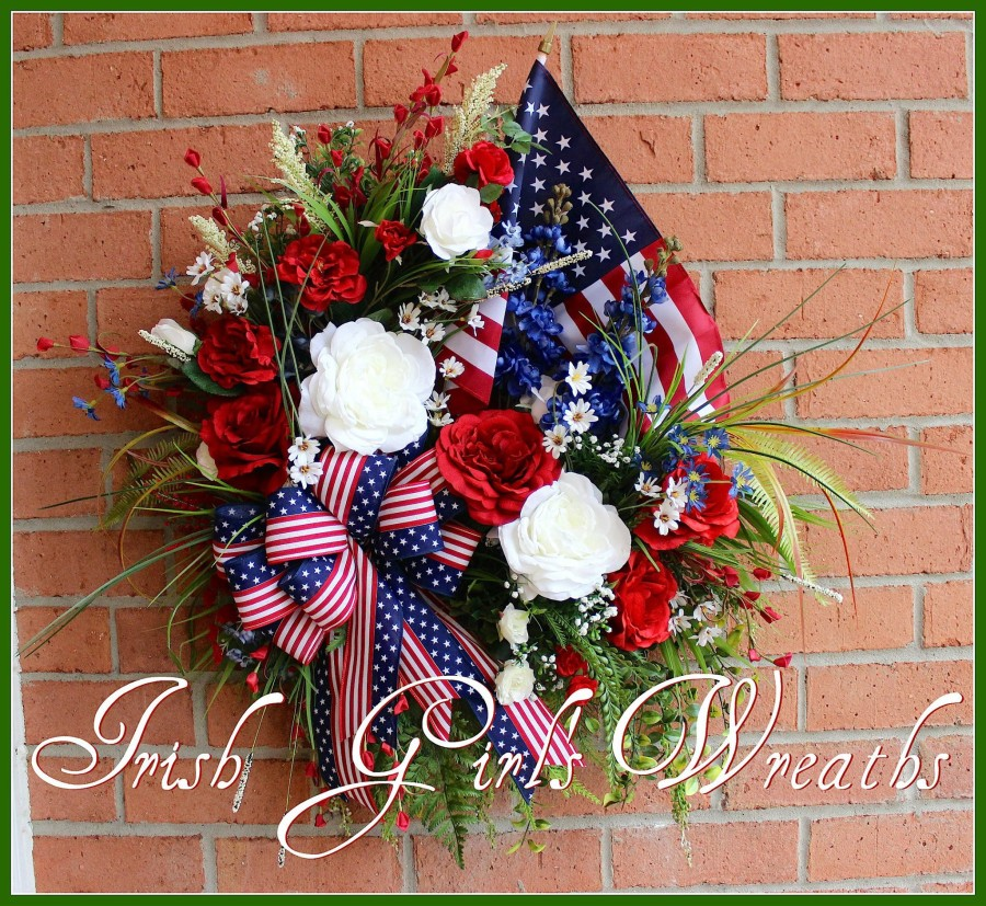Patriotic Garden Wreath, Memorial Day, 4th of July