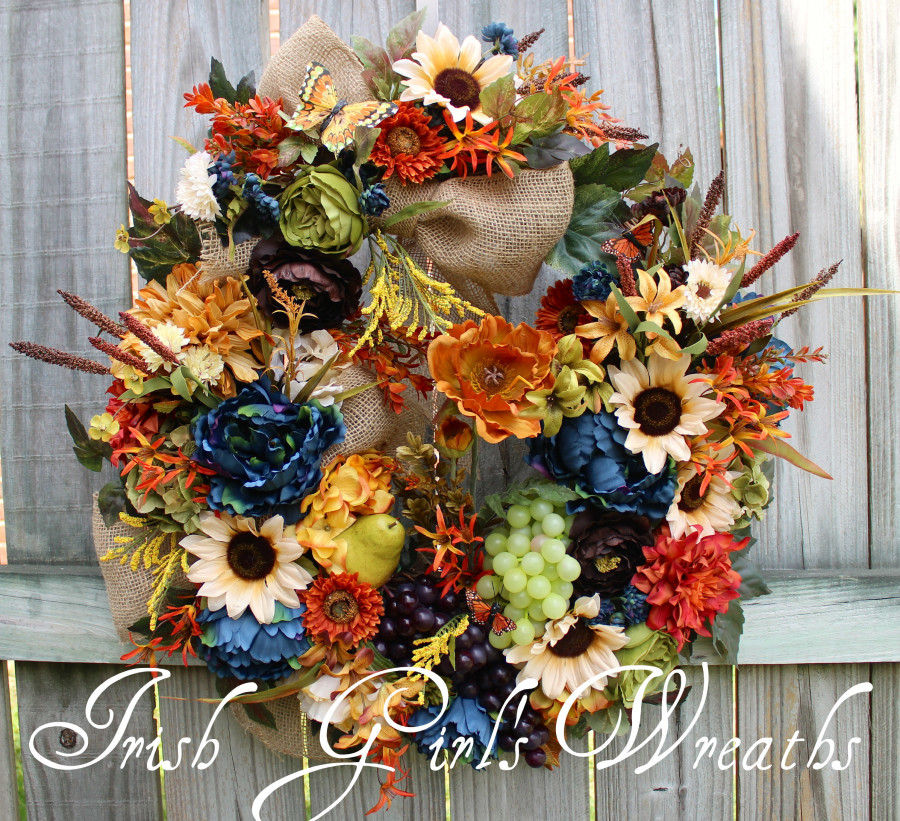 Deluxe Tuscan Splendor in Blue, Brown, Rust and Cream Wreath