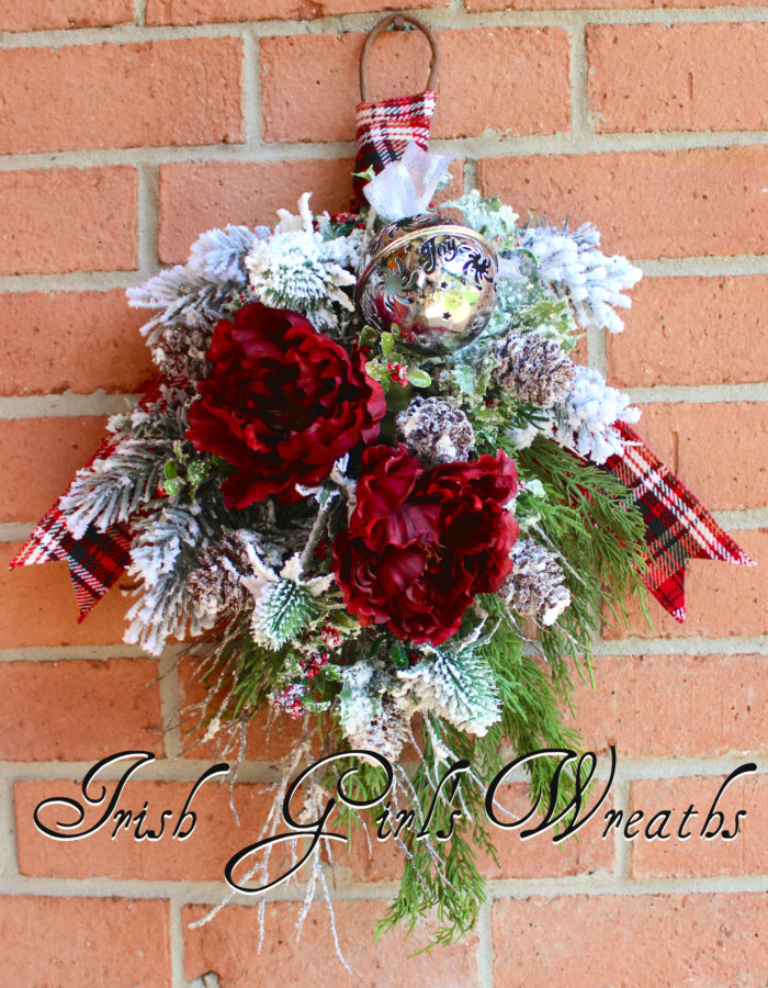 Rustic Winter Burgundy Floral Swag Wreath