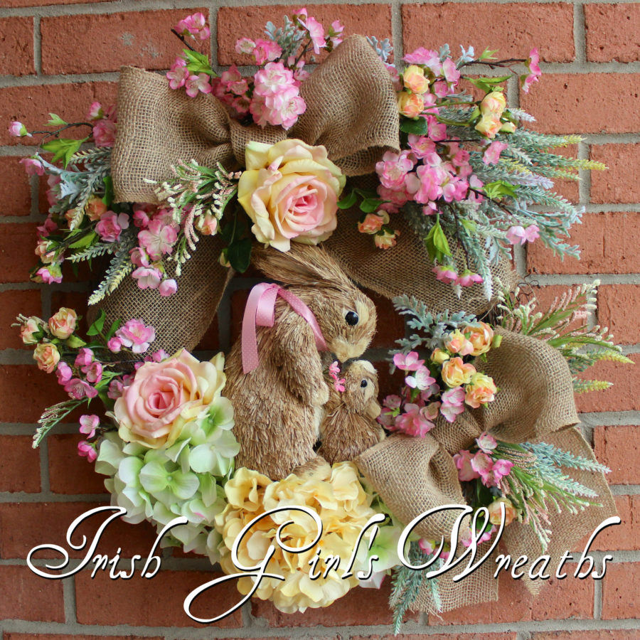 Pink & Yellow Cherry Blossom Spring Bunny Rabbits Wreath