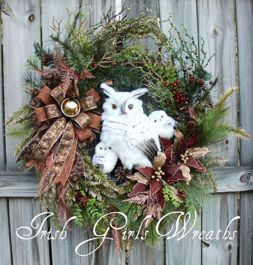 Rustic Woodland Copper and Gold Owl Family Christmas Wreath