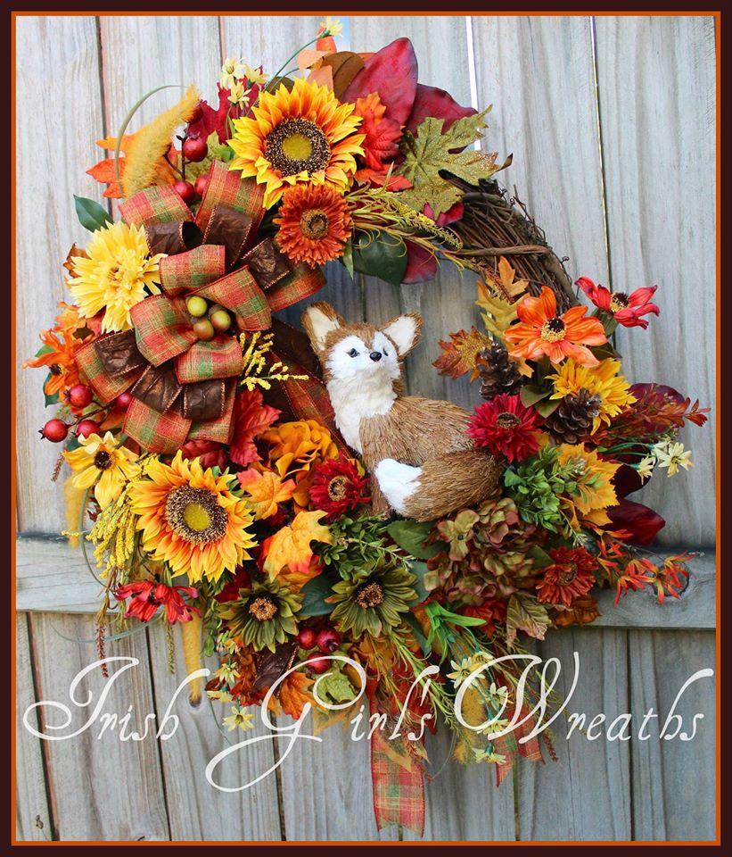 Custom Fall Fox Wreath for Joan