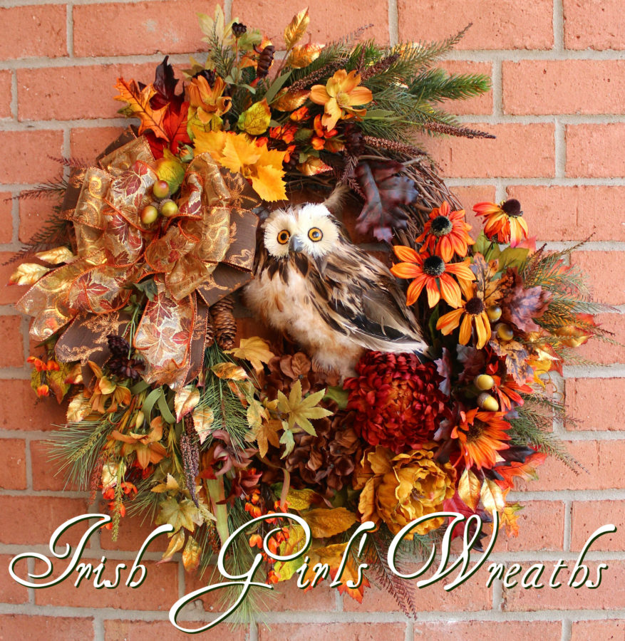 Deluxe Fall Owl Wreath, Large Rustic Autumn Owl Wreath
