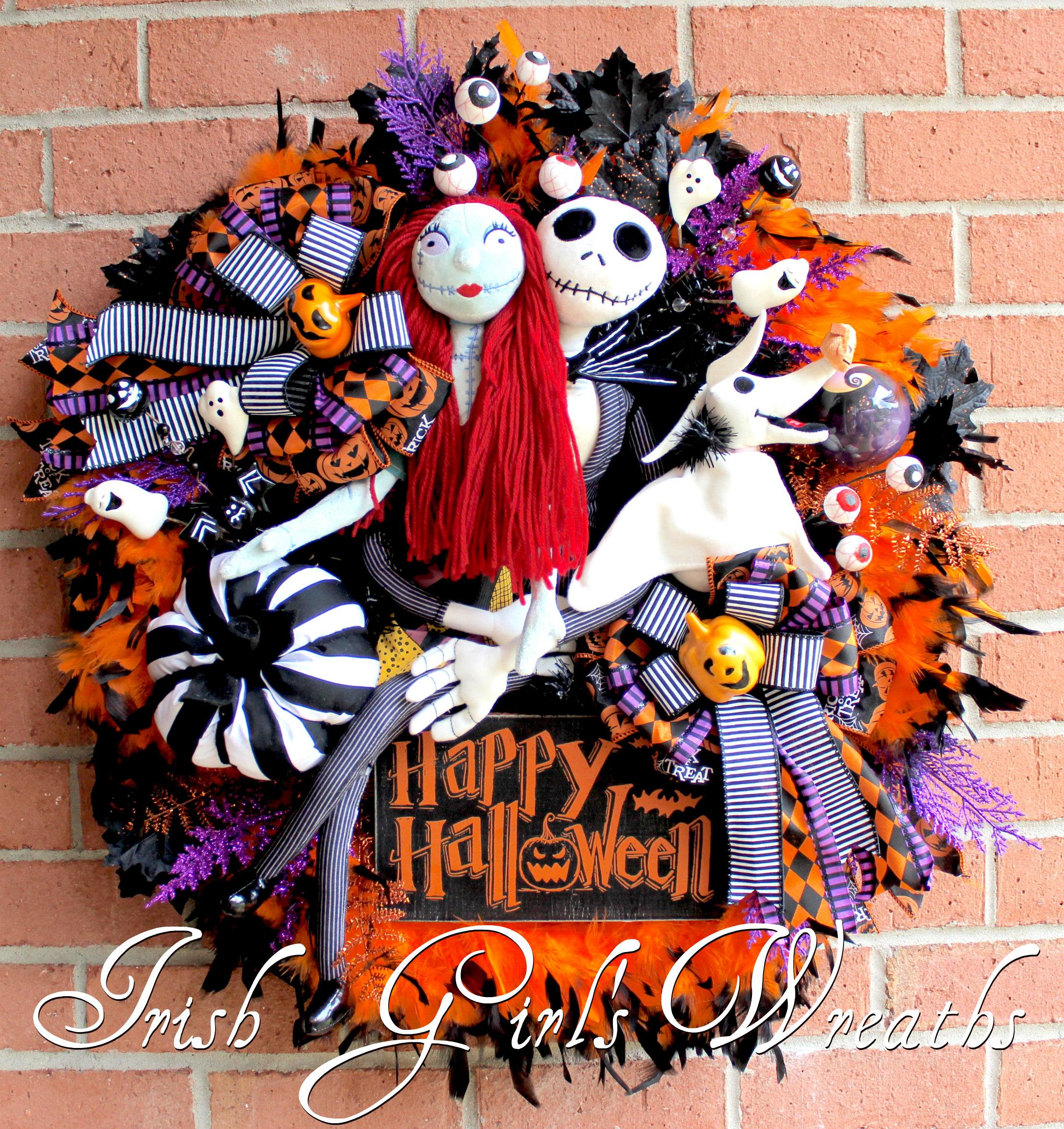 Nightmare Before Christmas decor Jack Skellington Wreath for front door Jack the Pumpkin King Wreath Nightmare Before Christmas Wreath