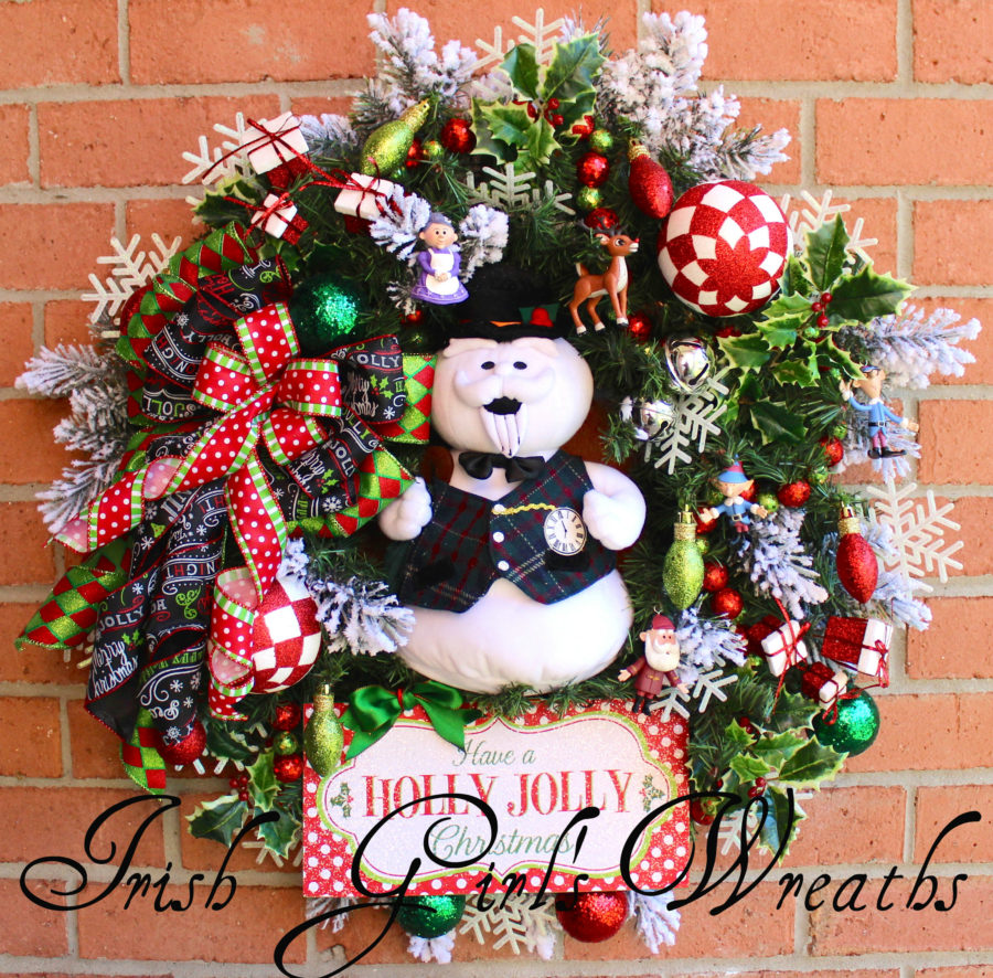 Sam the Snowman Holly Jolly Christmas Wreath