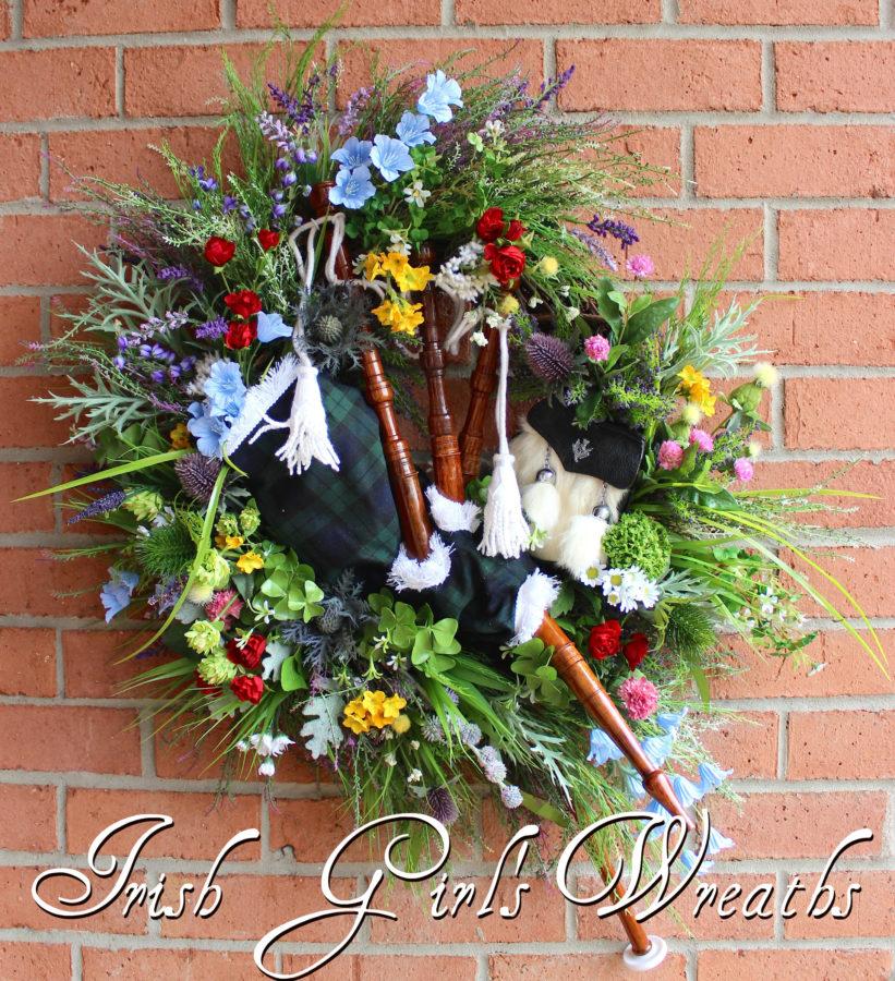 Irish Wildflower Celtic Bagpipes Wreath