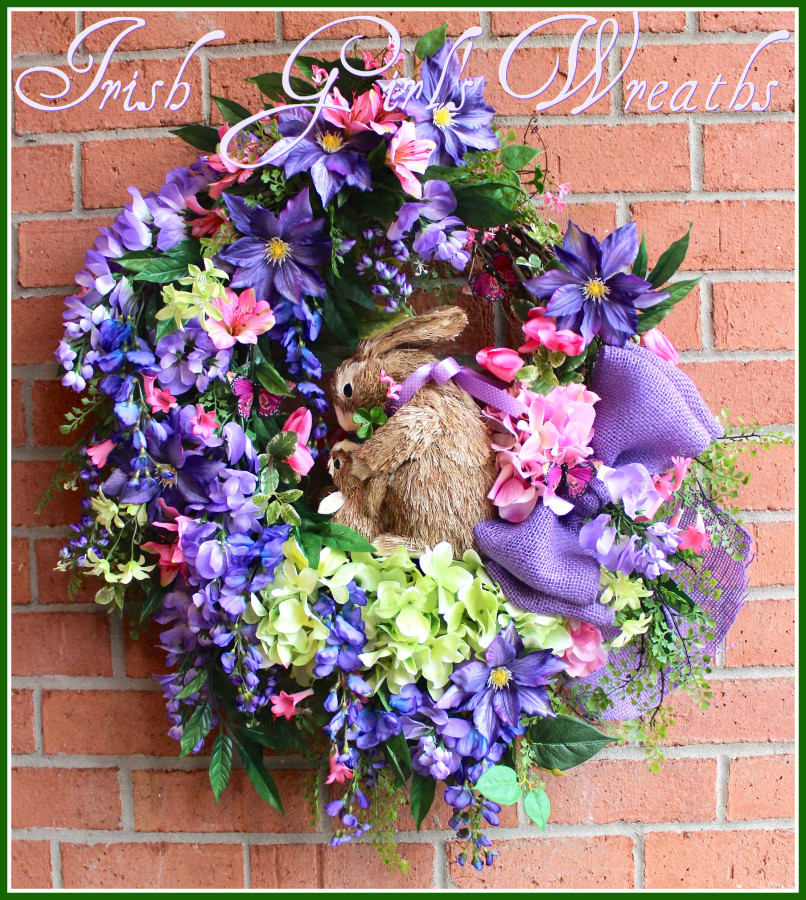 Purple Wisteria and Clematis Hugging Bunnies Wreath