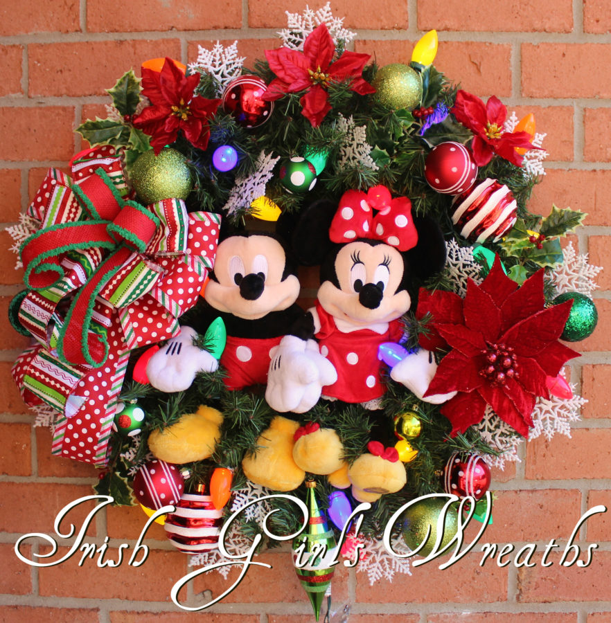 Mickey and Minnie Mouse Christmas Wreath, Custom Order