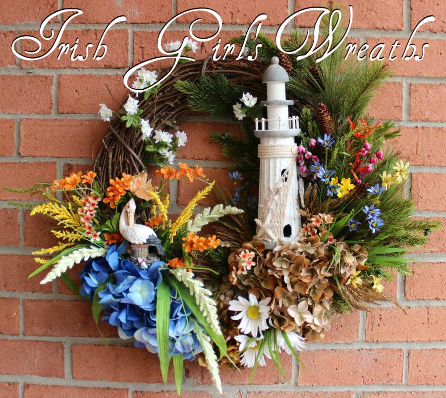New England Lighthouse Wreath, Year Round Coastal Wreath, Maine Lighthouse Sunset