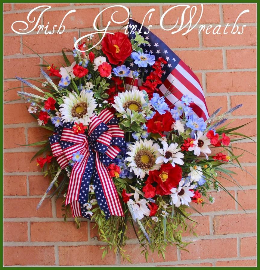 Patriotic Poppy Sunflower Wildflowers Wreath