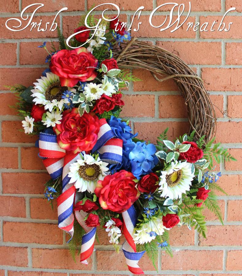 Summer Rose and Sunflower Patriotic Garden Wreath