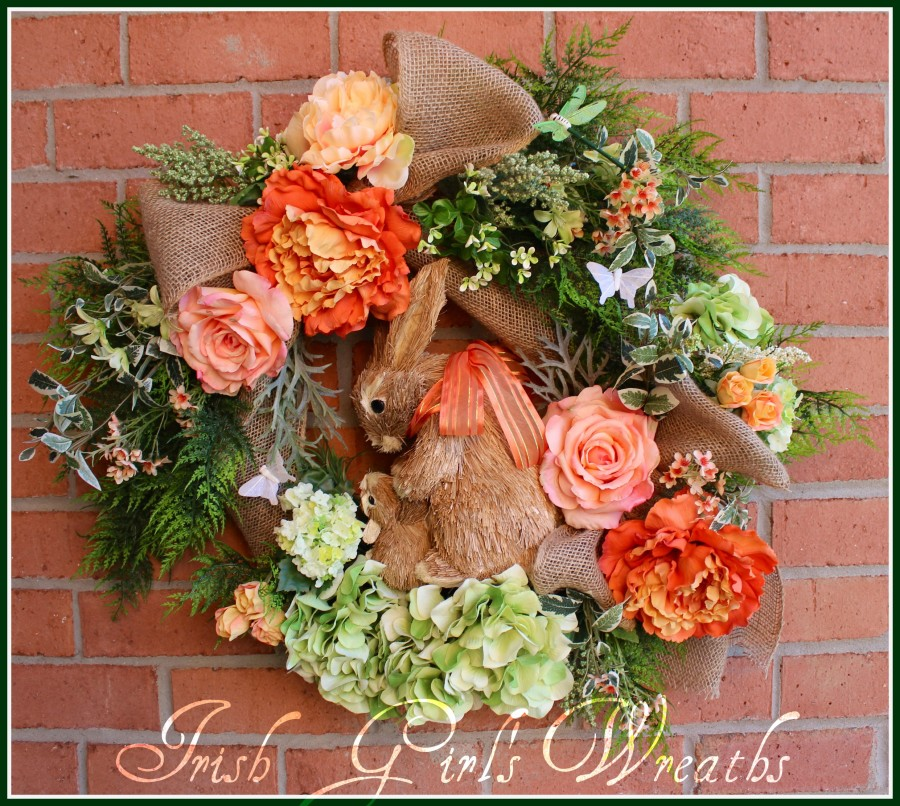 Coral Mom and baby Bunnies Spring Easter Wreath