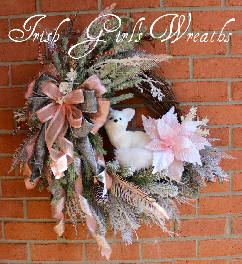 Pink Woodland Winter Arctic Fox Wreath