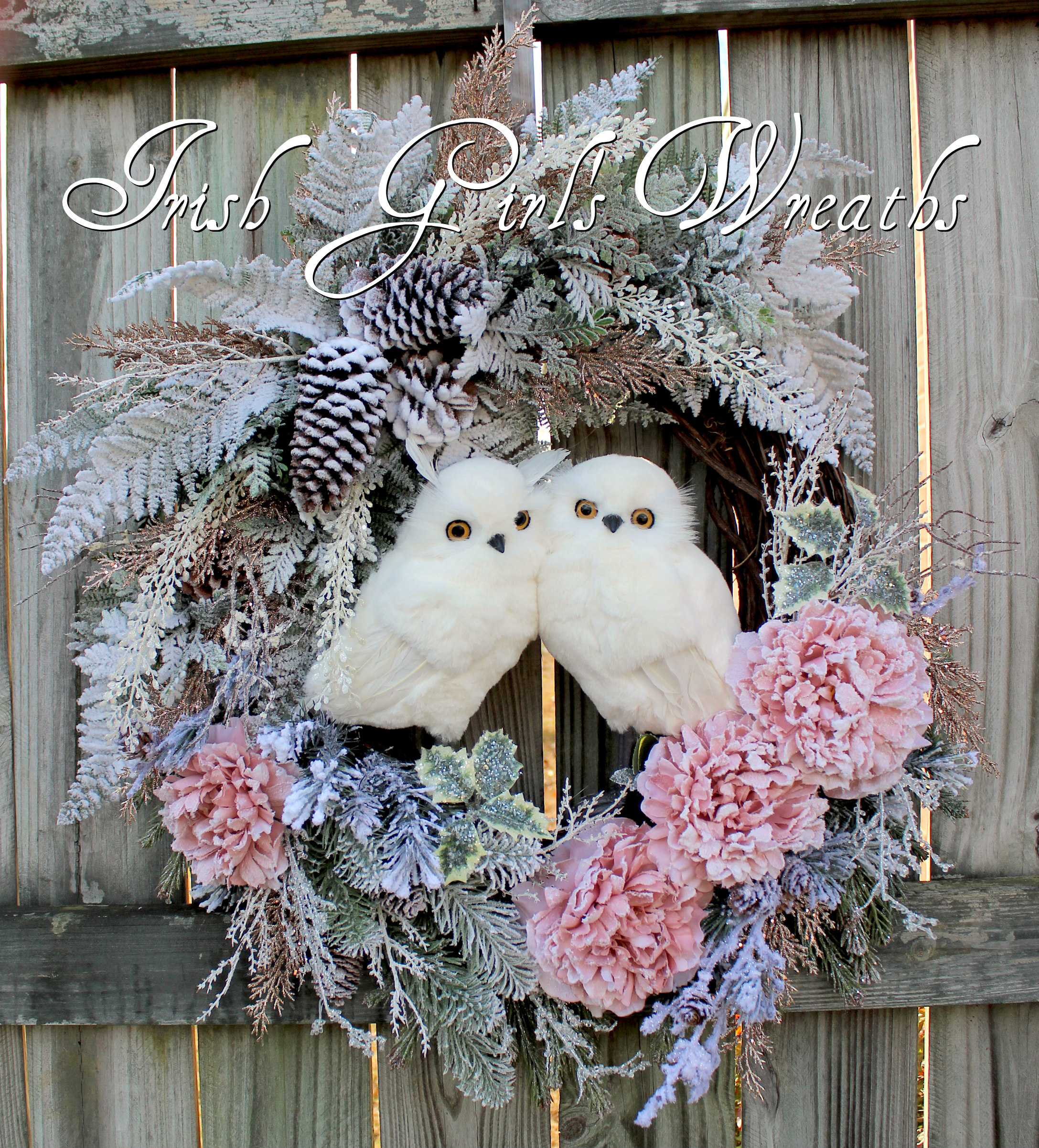 Pink Woodland Winter Snowy Owl Couple Wreath Rustic