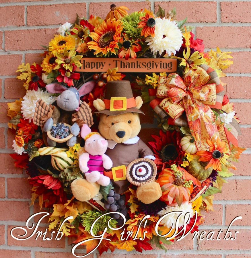 Winnie the Pooh and Friends Thanksgiving Harvest Wreath