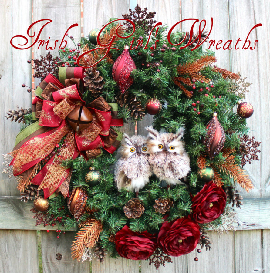 Rustic Burgundy Copper Brown Winter Owl Couple Wreath