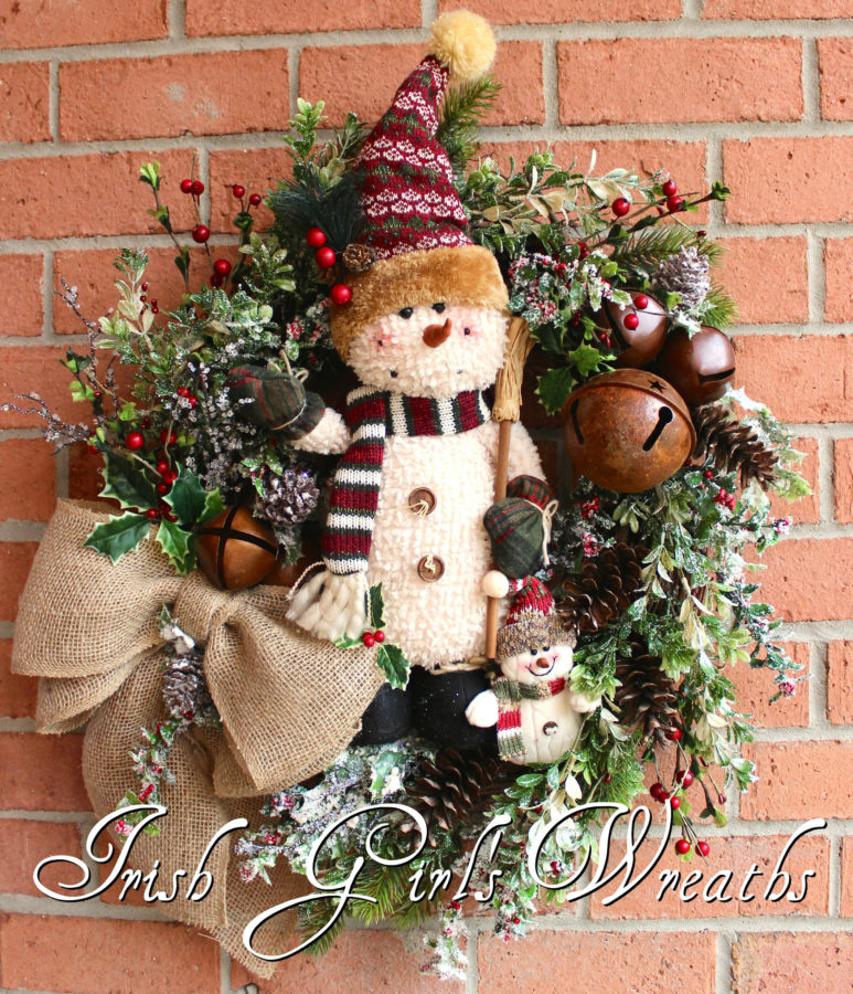 Rustic Snowman Family Christmas Wreath