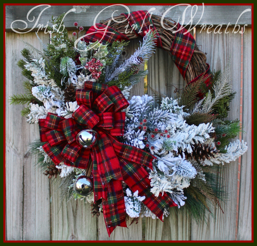 Scottish Celtic Christmas Wreath, Rustic Winter Cabin Wreath, Flannel Tartan Woodland Wreath