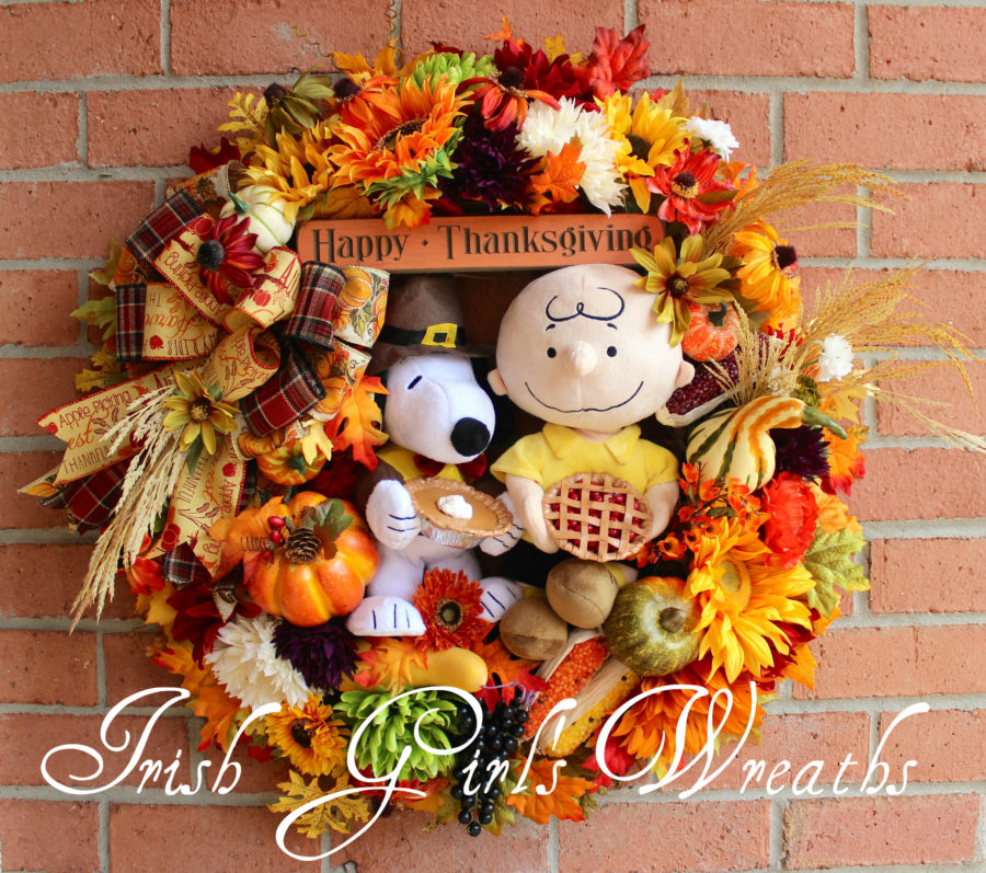 Charlie Brown and Snoopy Thanksgiving Wreath