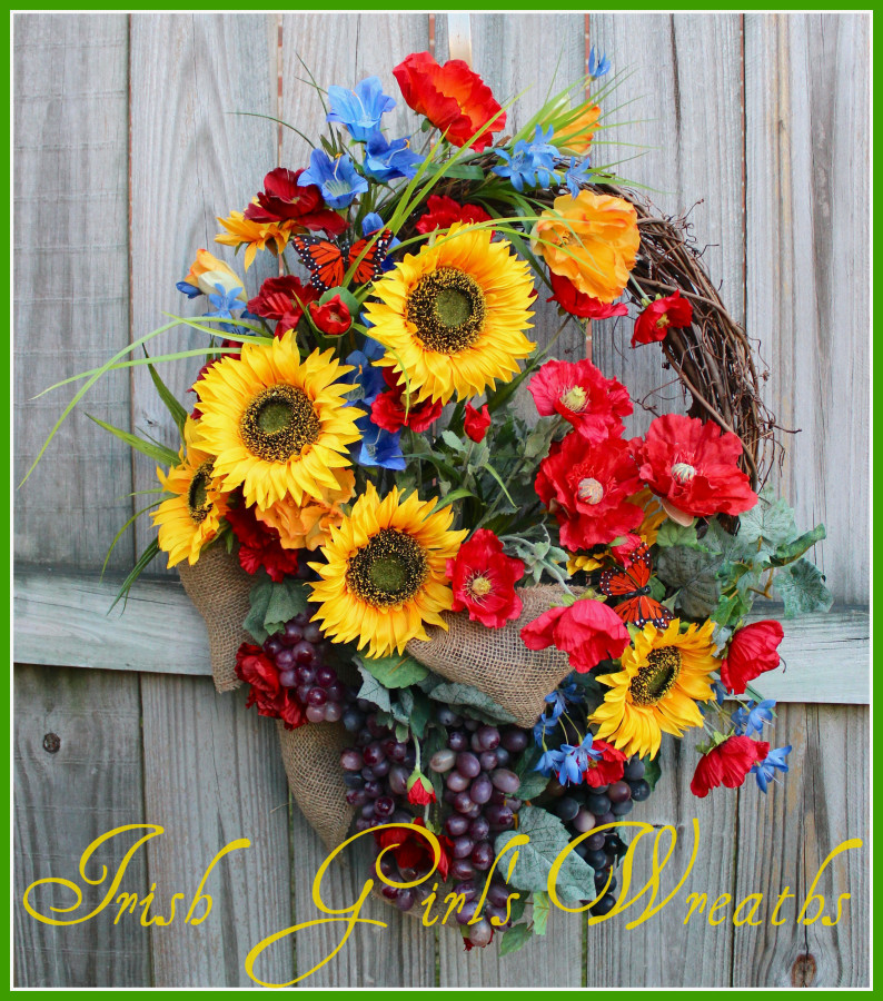 Garden of Italy Sunflower and Poppy Wreath
