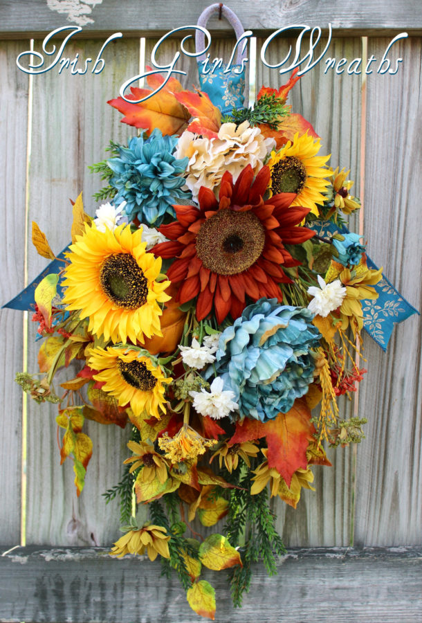 Teal and Rust Fall Sunflower Swag