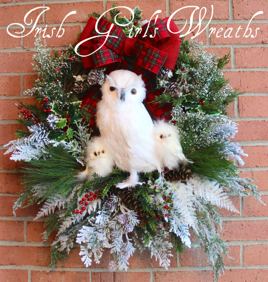 Winter Woodland Snow Owl Family Wreath