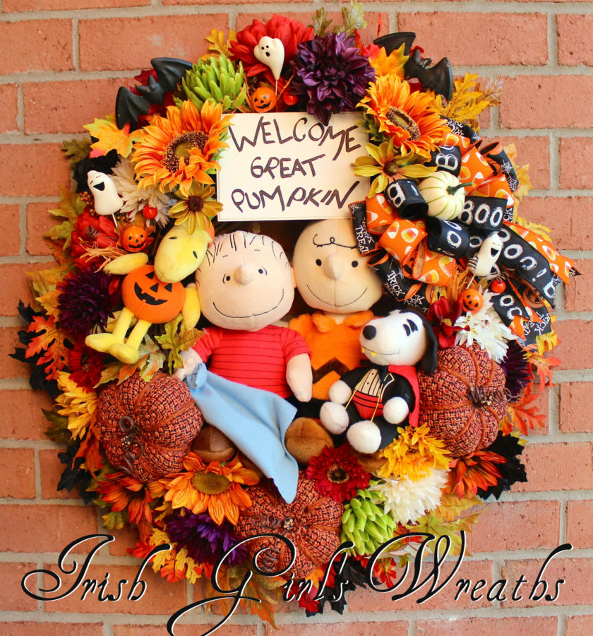 Welcome Great Pumpkin Wreath, Tweed Pumpkins