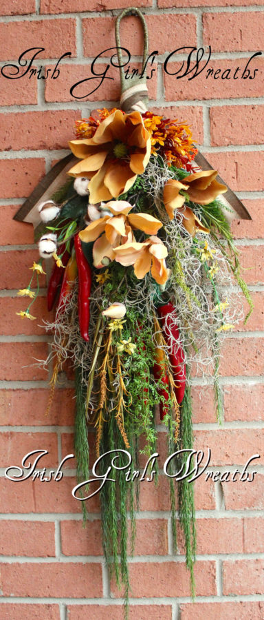 Cajun Bayou Magnolia Floral Swag, Chili Pepper Summer Wreath