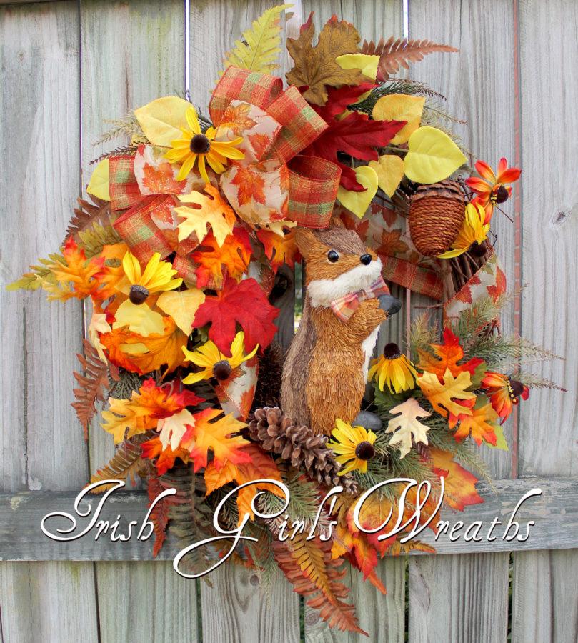 Rustic Fall Floral Chipmunk Wreath