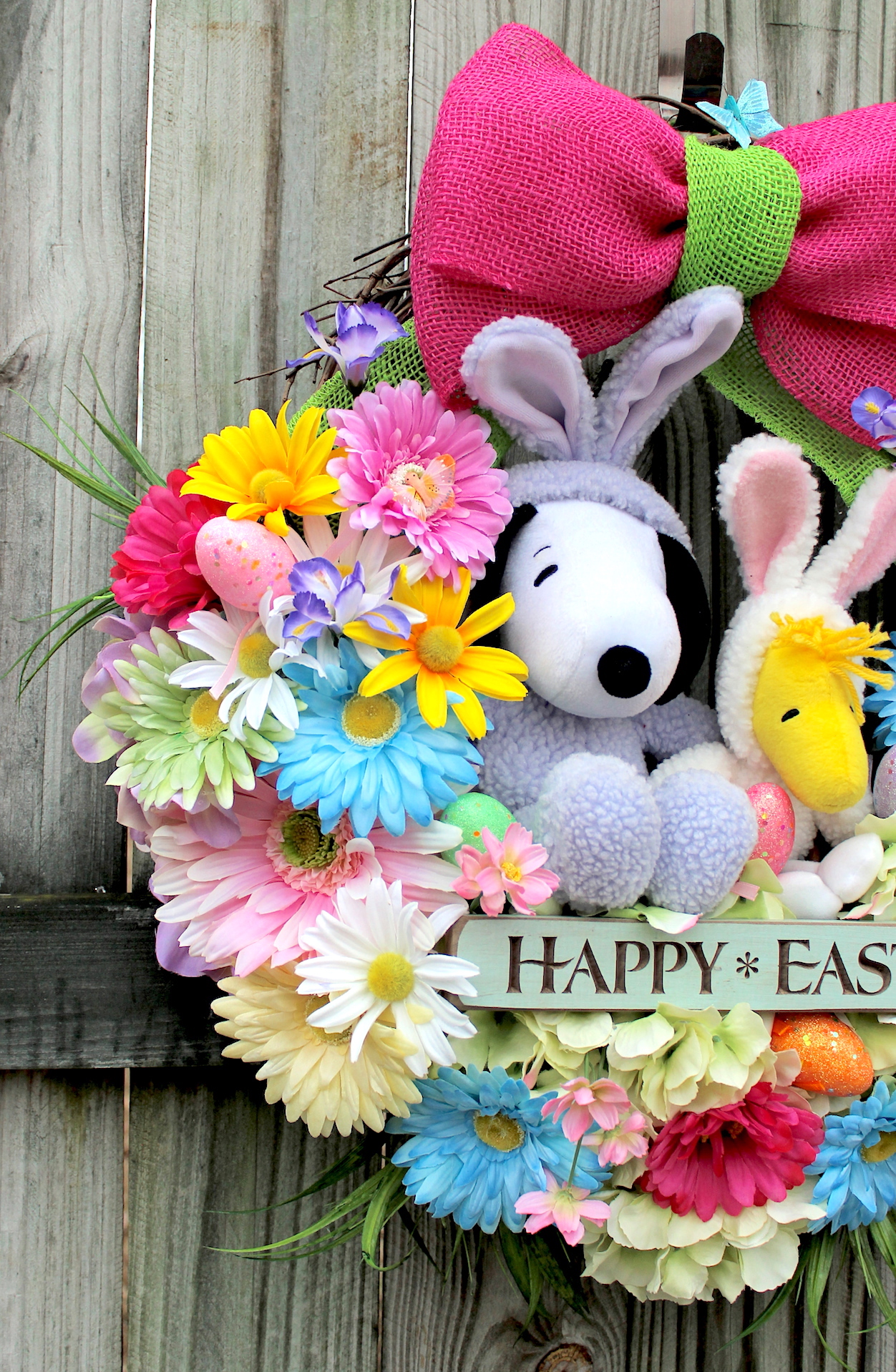 Irish girls wreaths where the difference is in the details this wreath features a 10 purple hallmark easter beagle snoopy sitting in his own easter basket with his best friend woodstock in his easter bunny costume negle Choice Image