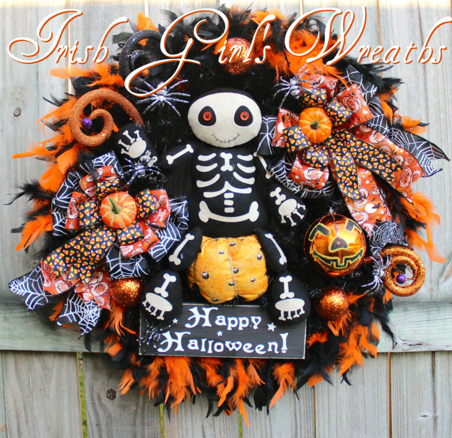 Adorable Orange and Black Skeleton Halloween Wreath