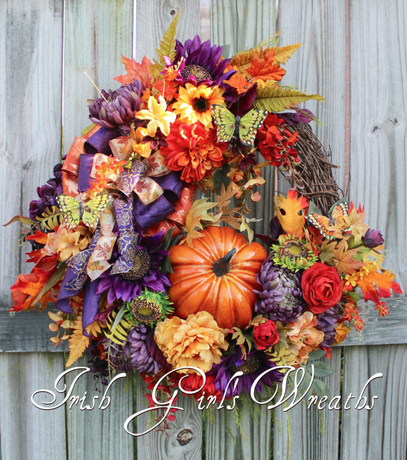 Purple Orange and Gold Tuscan Autumn Floral Pumpkin Wreath