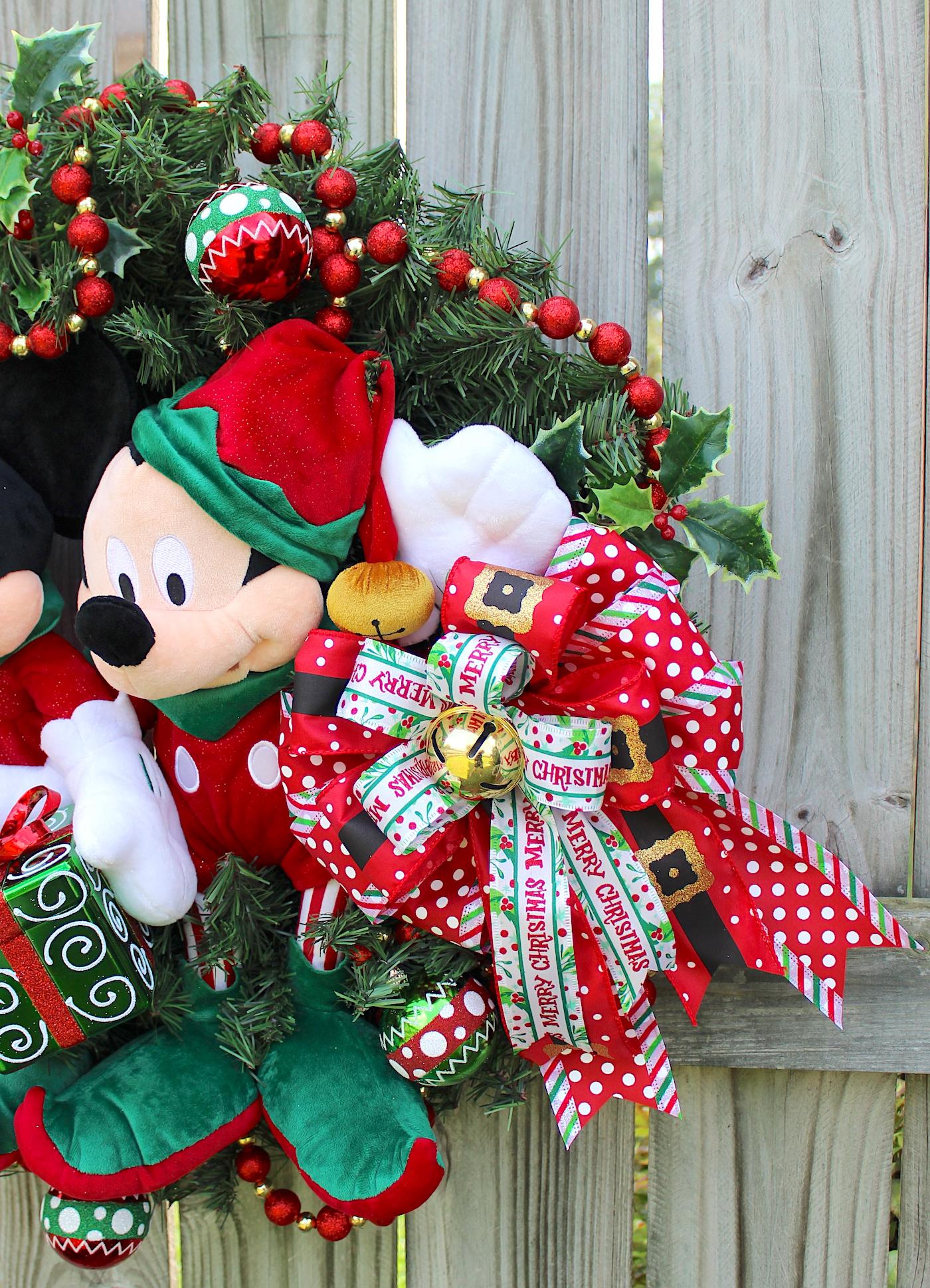 mickey and minnie mouse merry christmas wreath disney christmas santas helper elves sleigh bells