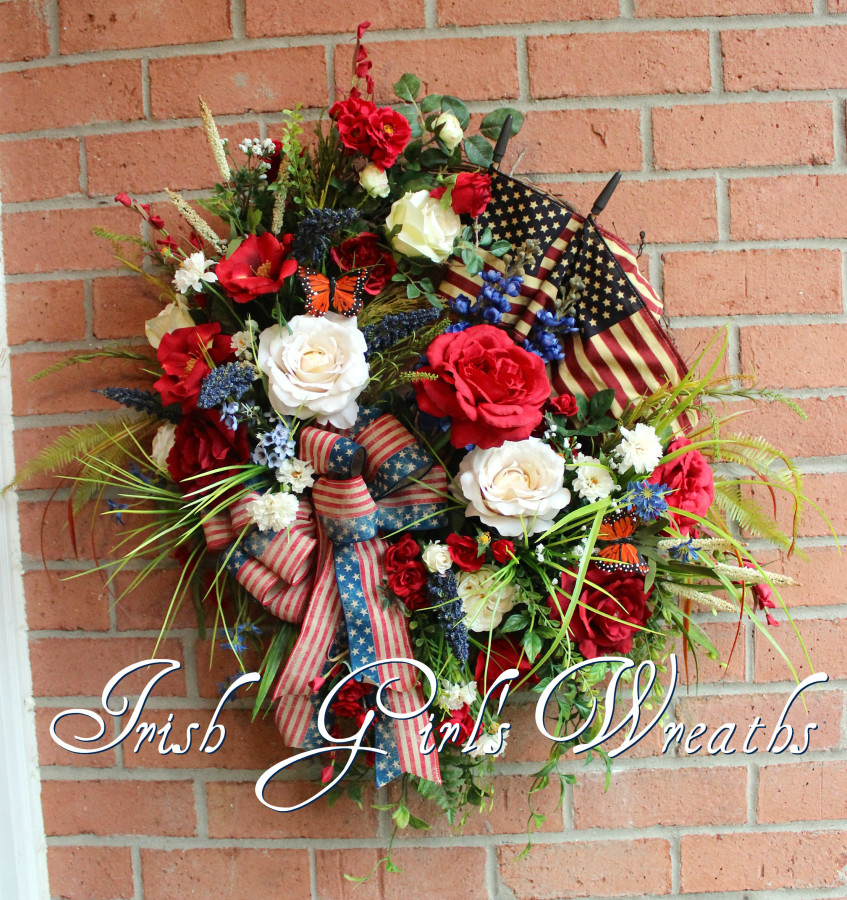 Rustic Patriotic Garden Wreath
