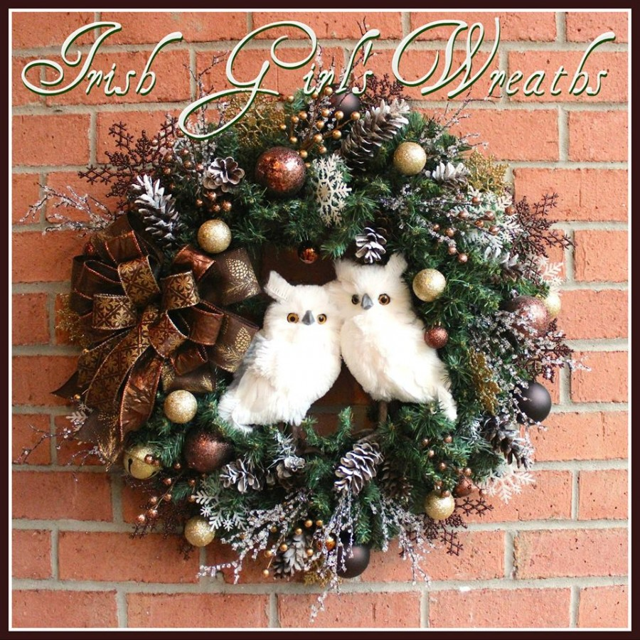 Rustic Winter Cabin White Owls Christmas Wreath