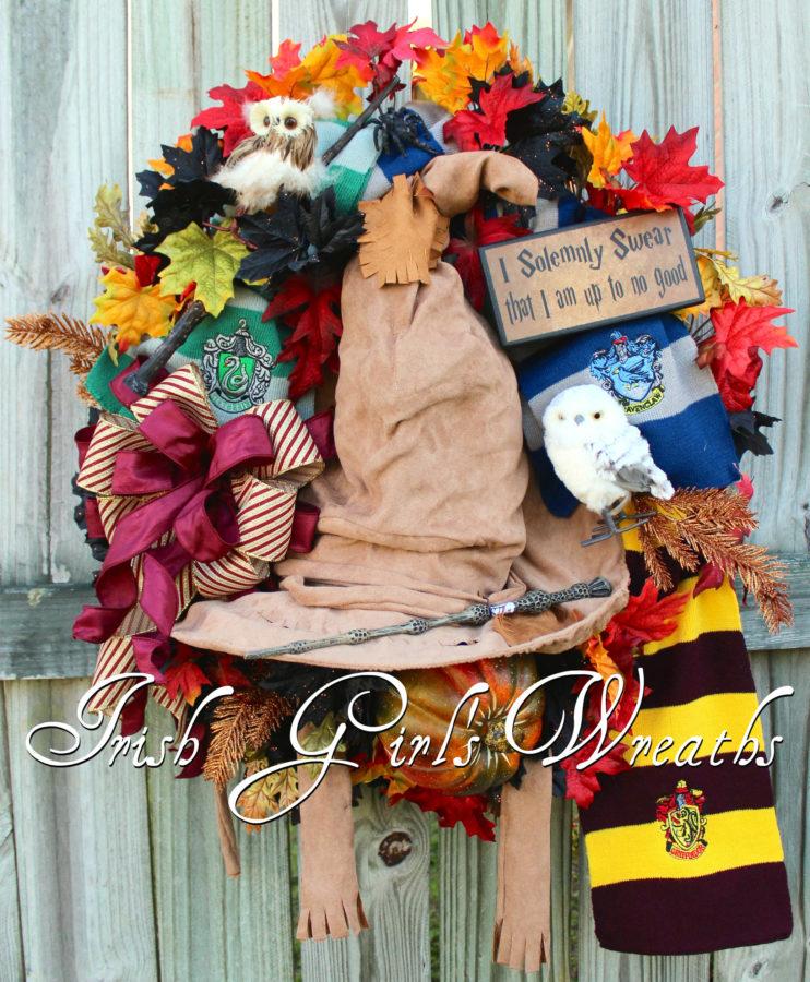 Hogwarts Harry Potter Sorting Hat Halloween Wreath