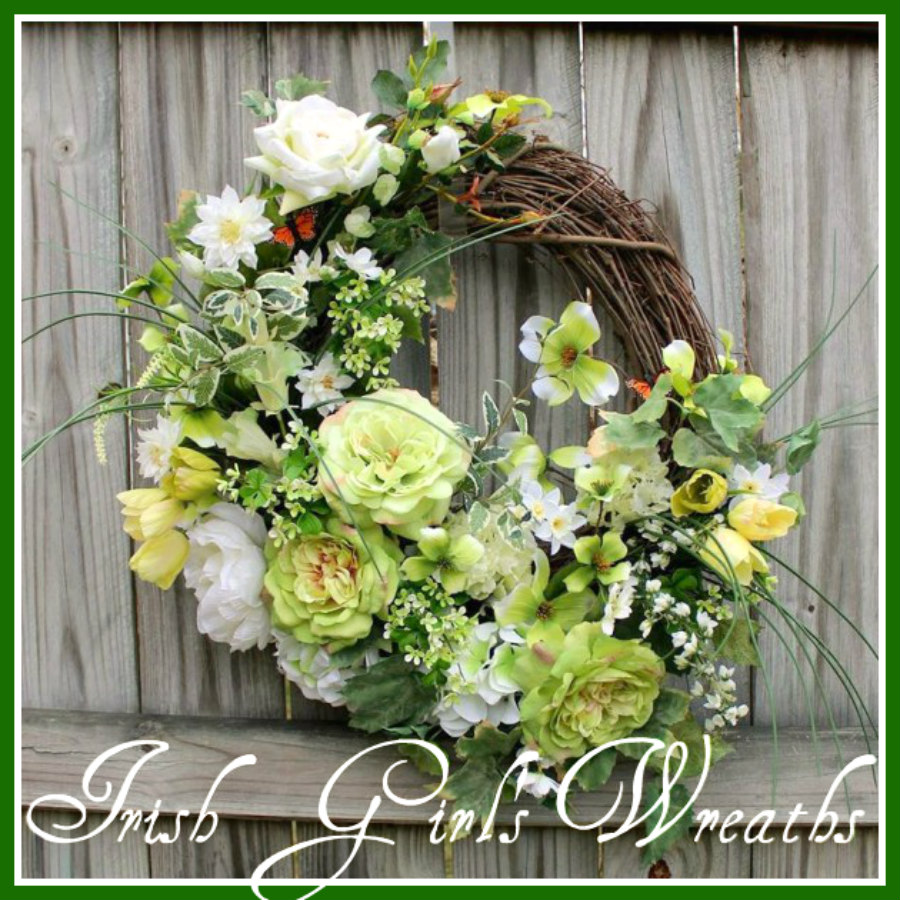 MADE To ORDER St Patrick's Spring Cottage Rose Garden Wreath, Large, Shamrock, clover, thistle, tulips, Peony, Hydrangea