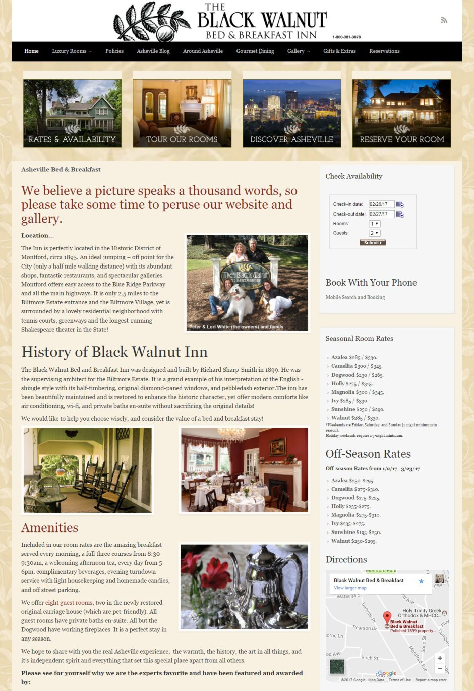 Asheville Website Design for local Bed & Breakfast