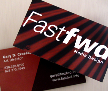 Graphic Design by Gary Crossey aka IrishGuy. Business card design for Fastfwd Asheville.