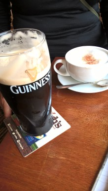 The staffs of life: cappucino and Guinness at Sweeney's