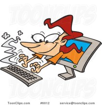 cartoon-lady-typing-from-a-computer-screen-by-ron-leishman-6012
