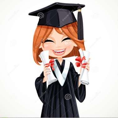 student-girl-holding-two-diplomas-happy-vector-41741241
