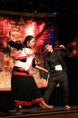 "Manisha shilpakar and Sumit Sahi perform ""Newari"" dance during Taste of Nepal, Saturday at Bruce M. Pitman Center."