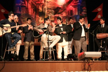 Musical performance by Nepali men during Taste of Nepal, Saturday at Bruce M. Pitman Center.