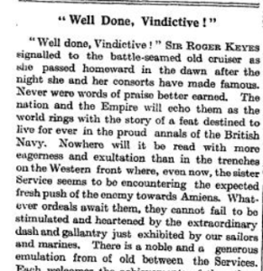 Well Done Vindictive! The Times (London, England), Thursday, Apr 25, 1918